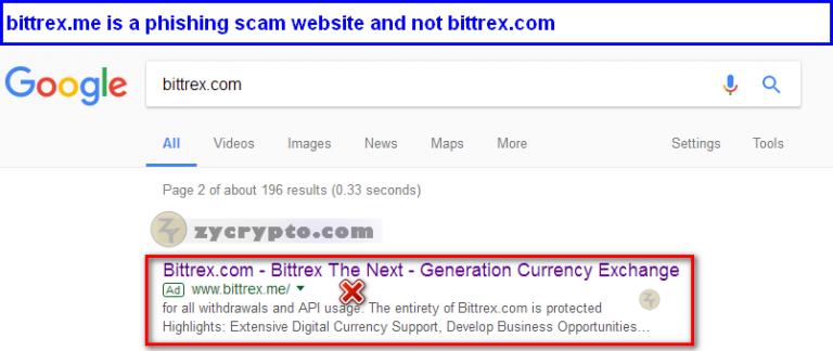 Reklama na stronę phishingową